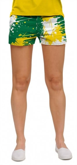 Green & Gold Paint Women's Mini Short MTO