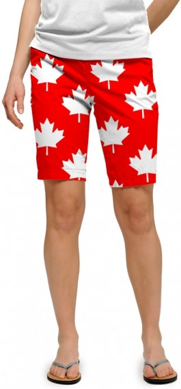 Canada Maple Leaf Red StretchTech Women's Bermuda Short MTO