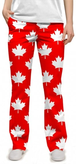 Canada Maple Leaf Red StretchTech Women's Capri/Pant MTO