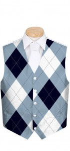 Blue & White Men's Vest MTO