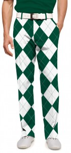 Green & White Argyle Men's Pant MTO
