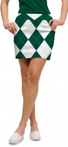 Green & White Argyle Women's Skort/Skirt MTO