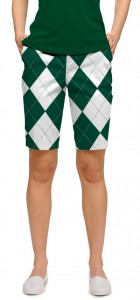 Green & White Argyle Women's Bermuda Short MTO