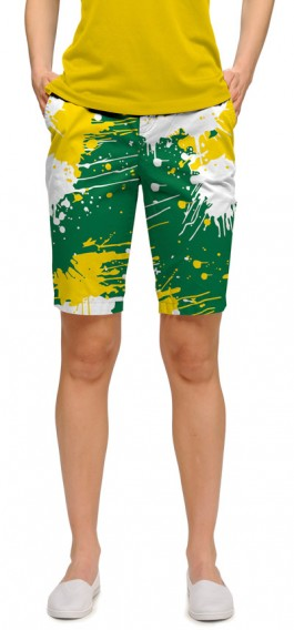 Green & Gold Paint Women's Bermuda Short MTO