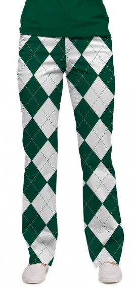 Green & White Argyle Women's Capri/Pant MTO