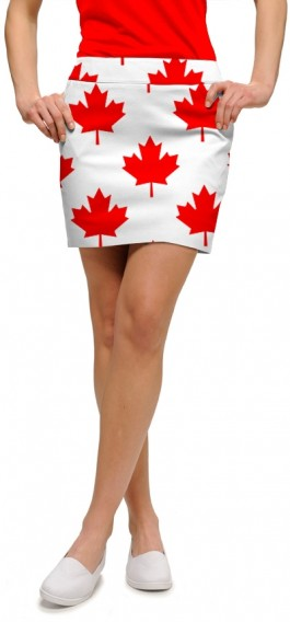 Canada Maple Leaf White StretchTech Women's Skort/Skirt MTO