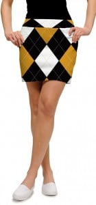 Black & Gold Argyle StretchTech Women's Skort/Skirt MTO