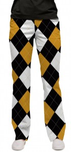 Black & Gold Argyle StretchTech Women's Capri/Pant MTO
