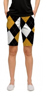 Black & Gold Argyle StretchTech Women's Bermuda Short MTO