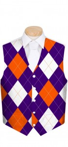 Purple & Orange Argyle StretchTech Men's Vest MTO