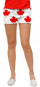 Canada Maple Leaf White StretchTech Women's Mini Short MTO